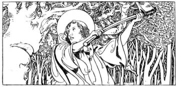 A depiction of Saint Boniface destroying Donar's Oak from The Little Lives of the Saints (1904), illustrated by Charles Robinson. St. Boniface cuts down Thor's Oak by Charles Robinson.jpg