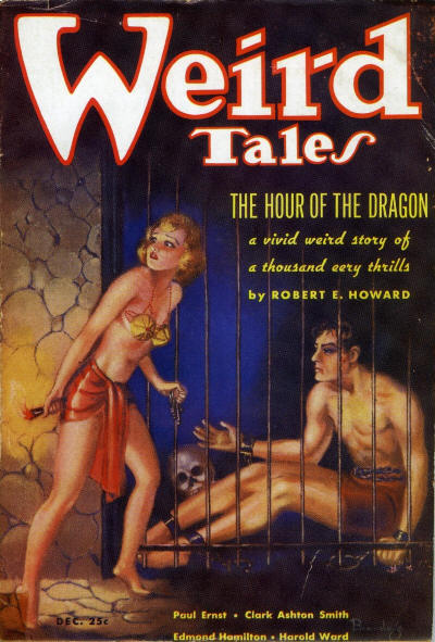 Cover of Weird Tales magazine, December 1935 - Conan behind bars in a dungeon as Zenobia passes him a key
