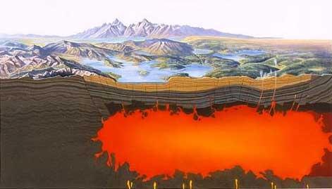 Magmatický krb pod Yellowstonským národným parkom (USA)