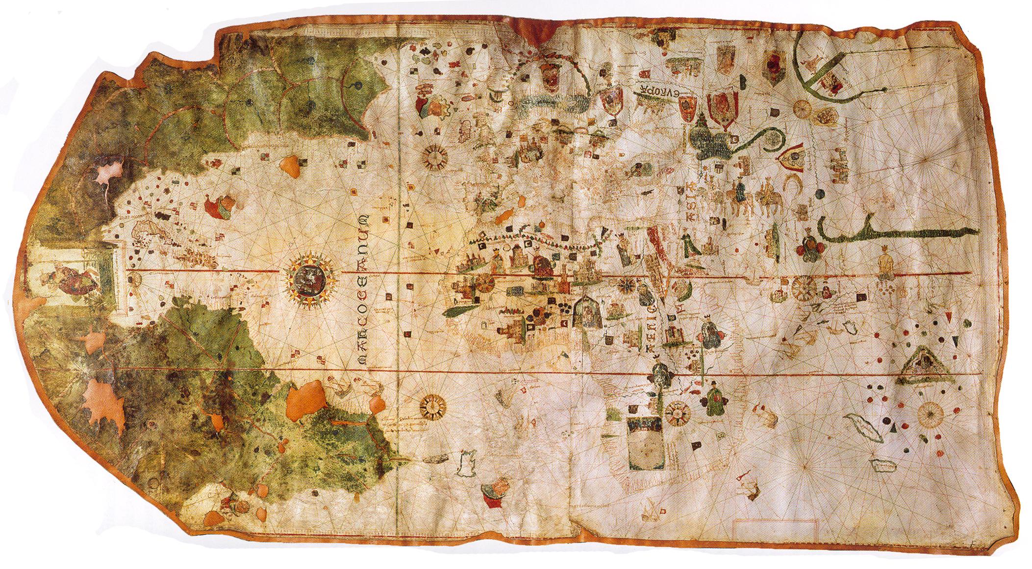 Weltkarte von Juan de la Cosa. (Quelle: via Wikimedia Commons, gemeinfrei)