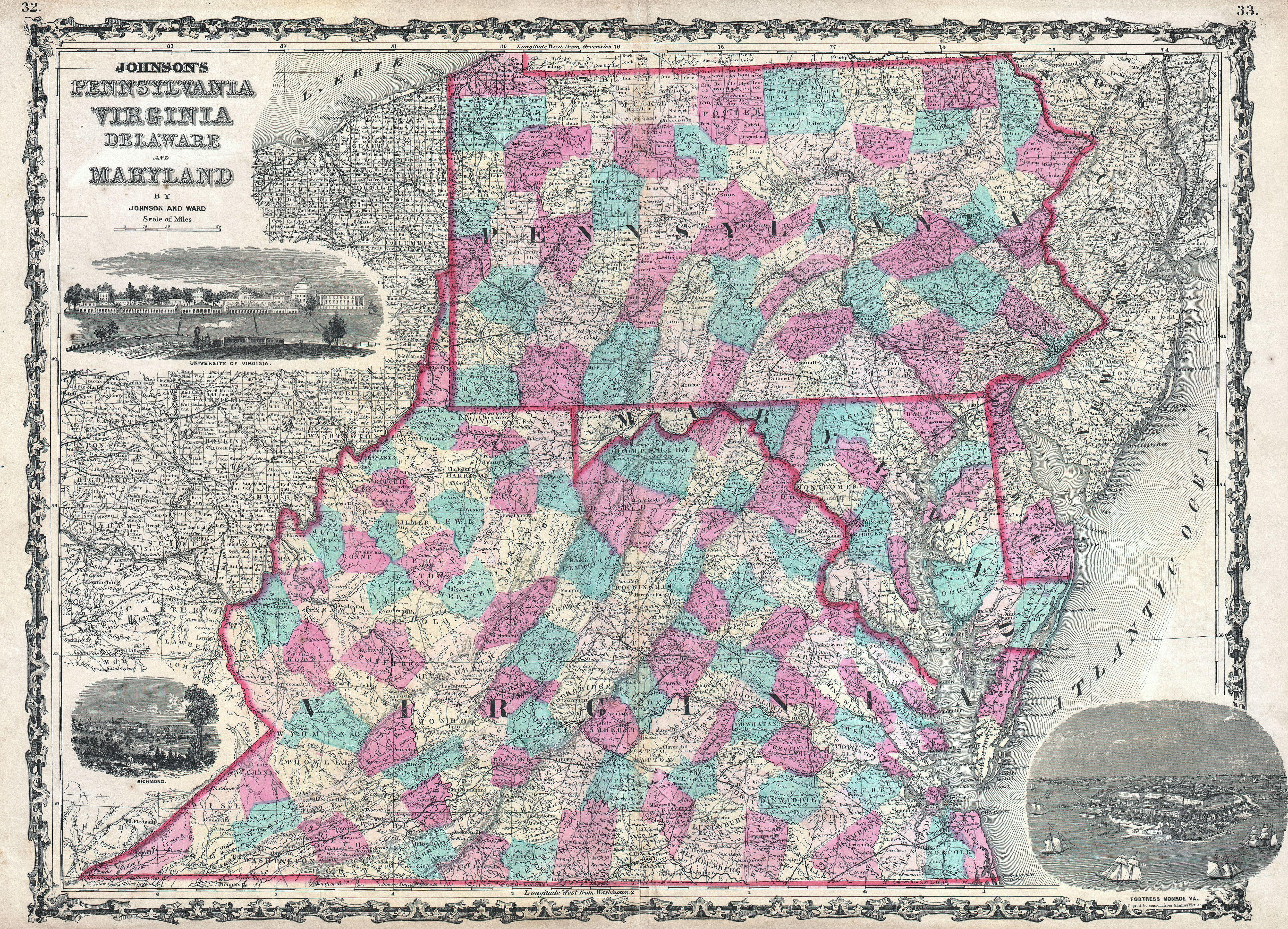 File1862 Johnson Map Of Virginia Maryland Delaware And
