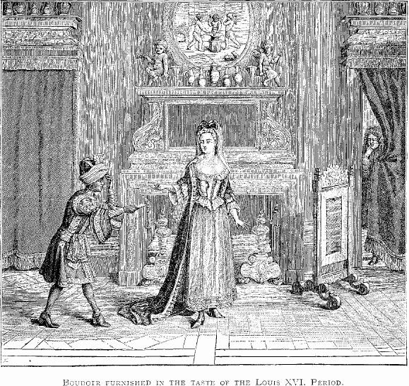 descrizione sotto si vedono una donna avanti ad un camino un paggio dalla porta coperta da una tenda un uomo spia