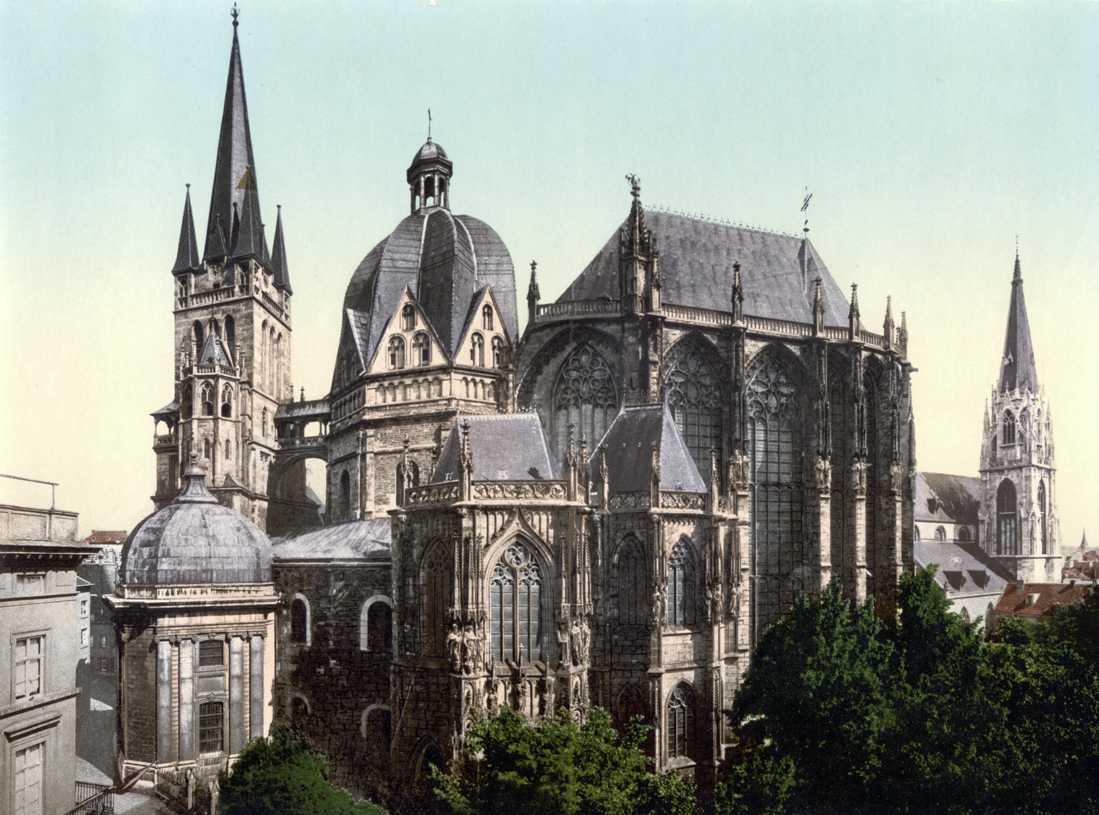 Aachen Germany  city images : Description Aachen Dom um 1900