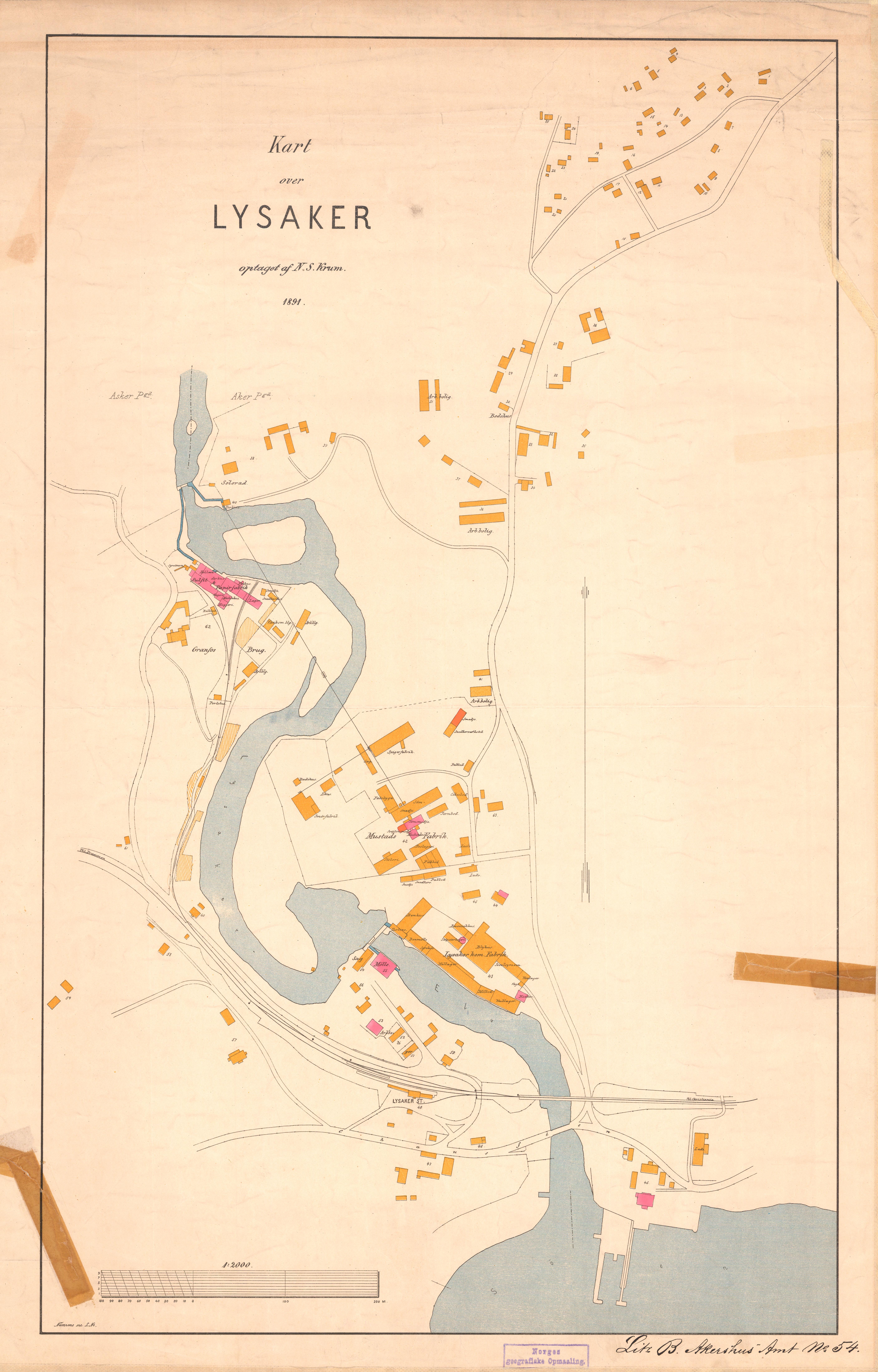 File Akershus Amt Nr 67 Kart Over Lysaker 1891 Jpg Wikimedia