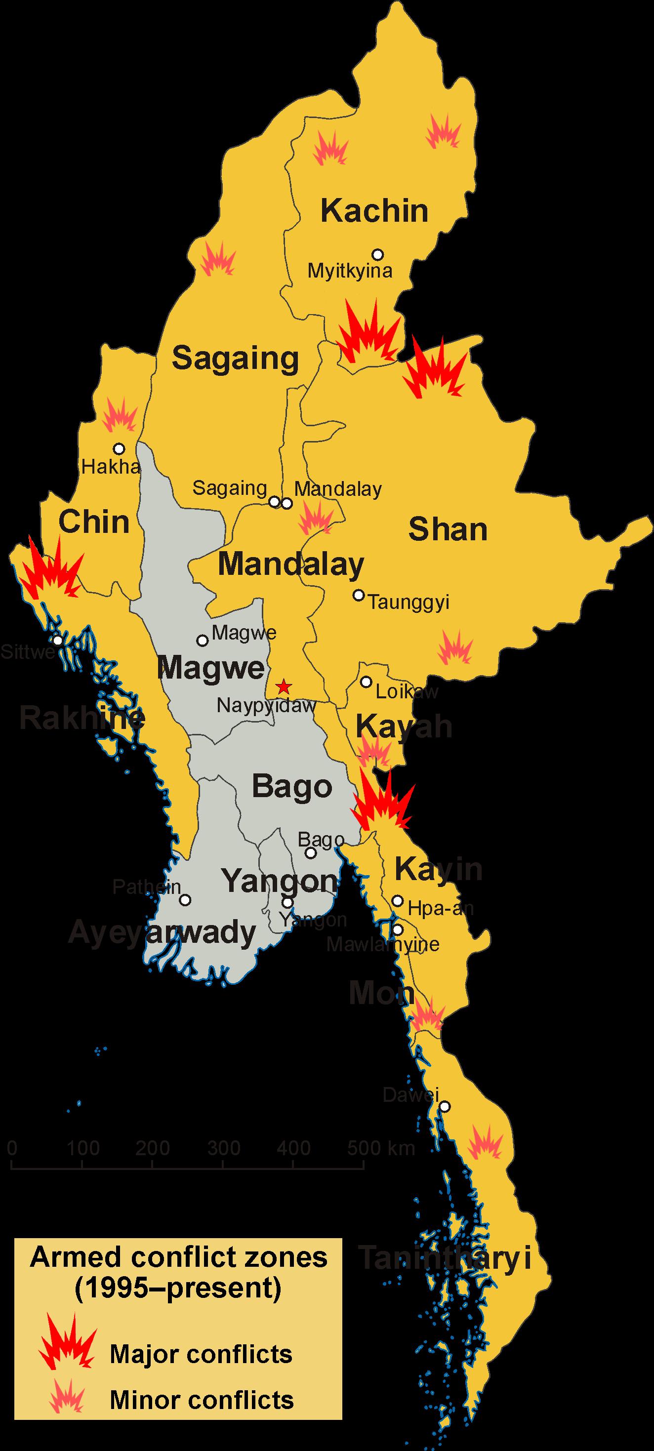 map of myanmar burma Internal Conflict In Myanmar Wikipedia map of myanmar burma