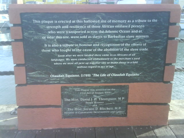 A plaque along the Bridgetown Boardwalk to recognize the trans-Atlantic slave trade to Barbados