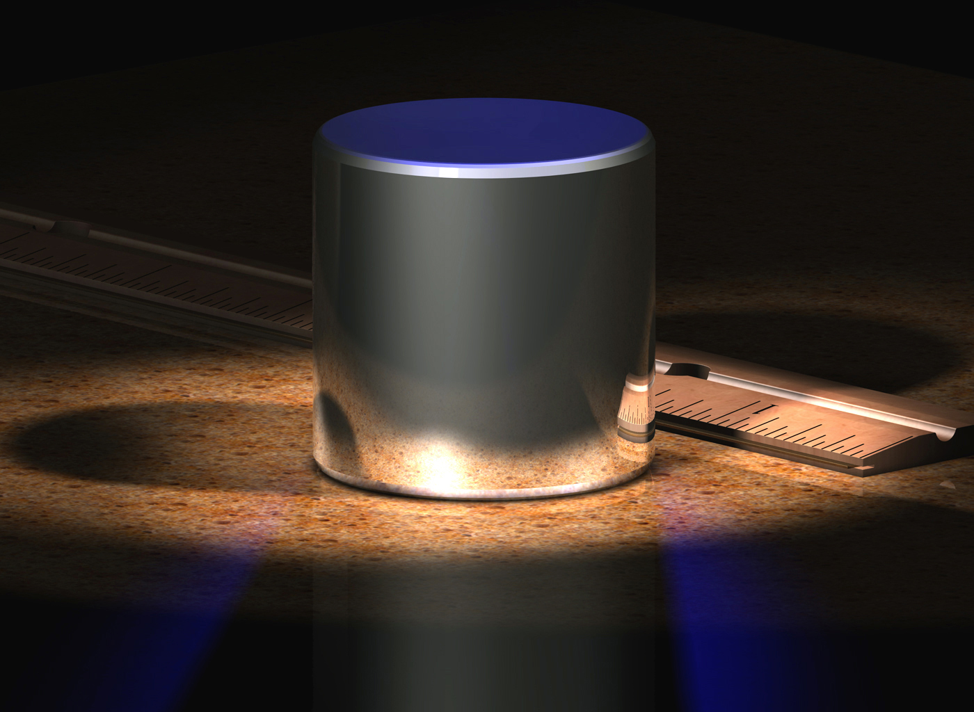 "A computer-generated image of the International Prototype Kilogram (""IPK"")."