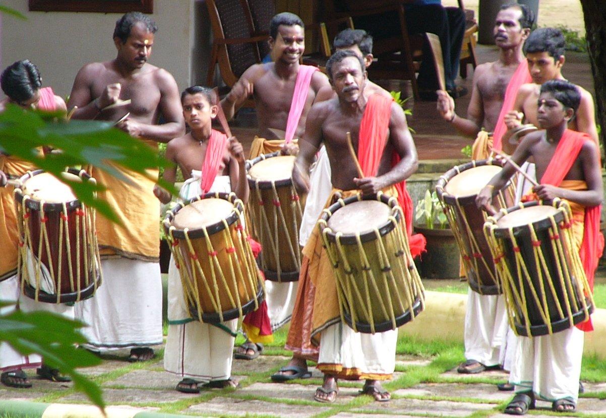 A Thayambaka Chenda ensemble