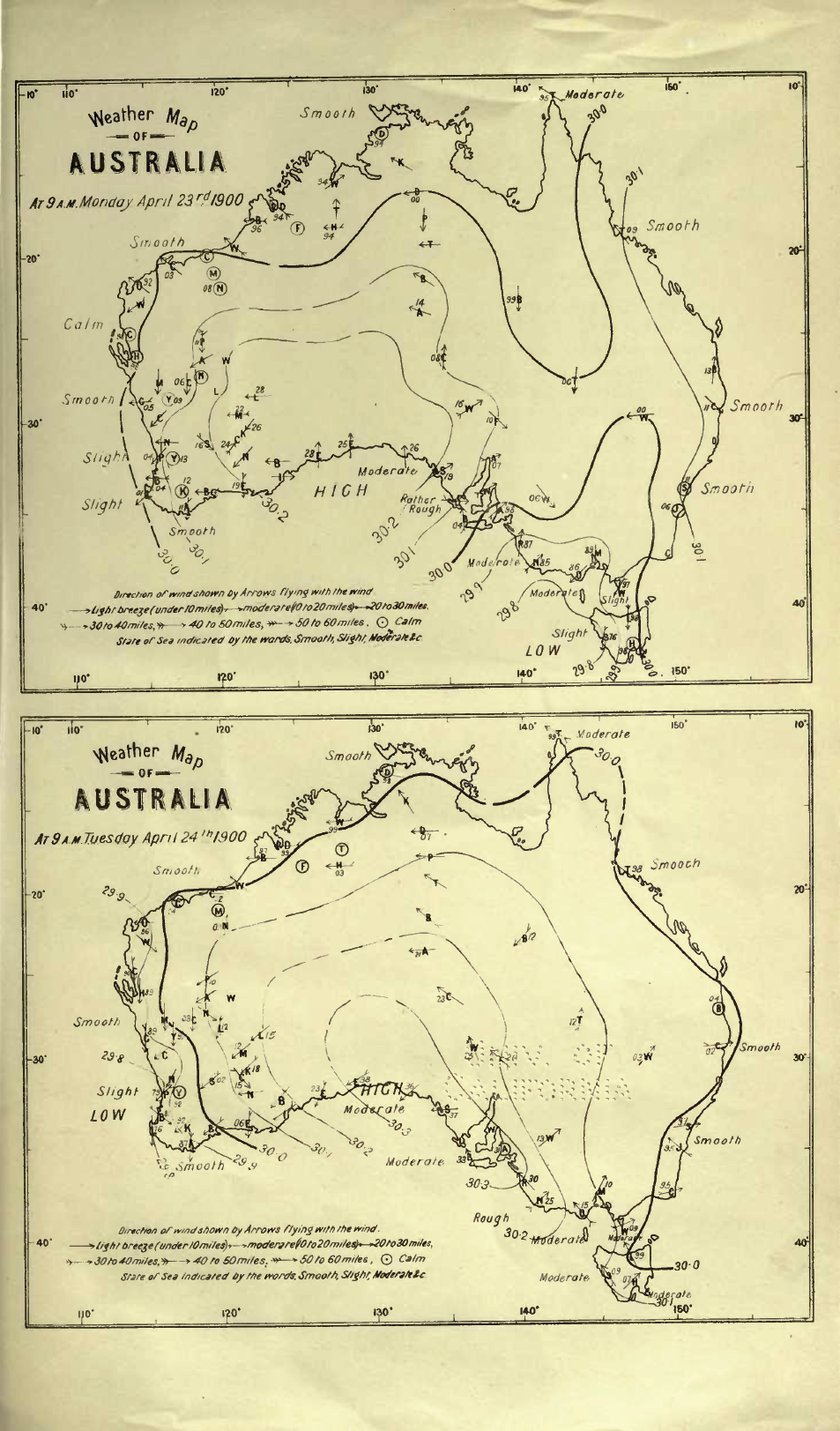 Australia Map 1900.File Cooke Weather Map Of Australia April 23and24 1900 Png
