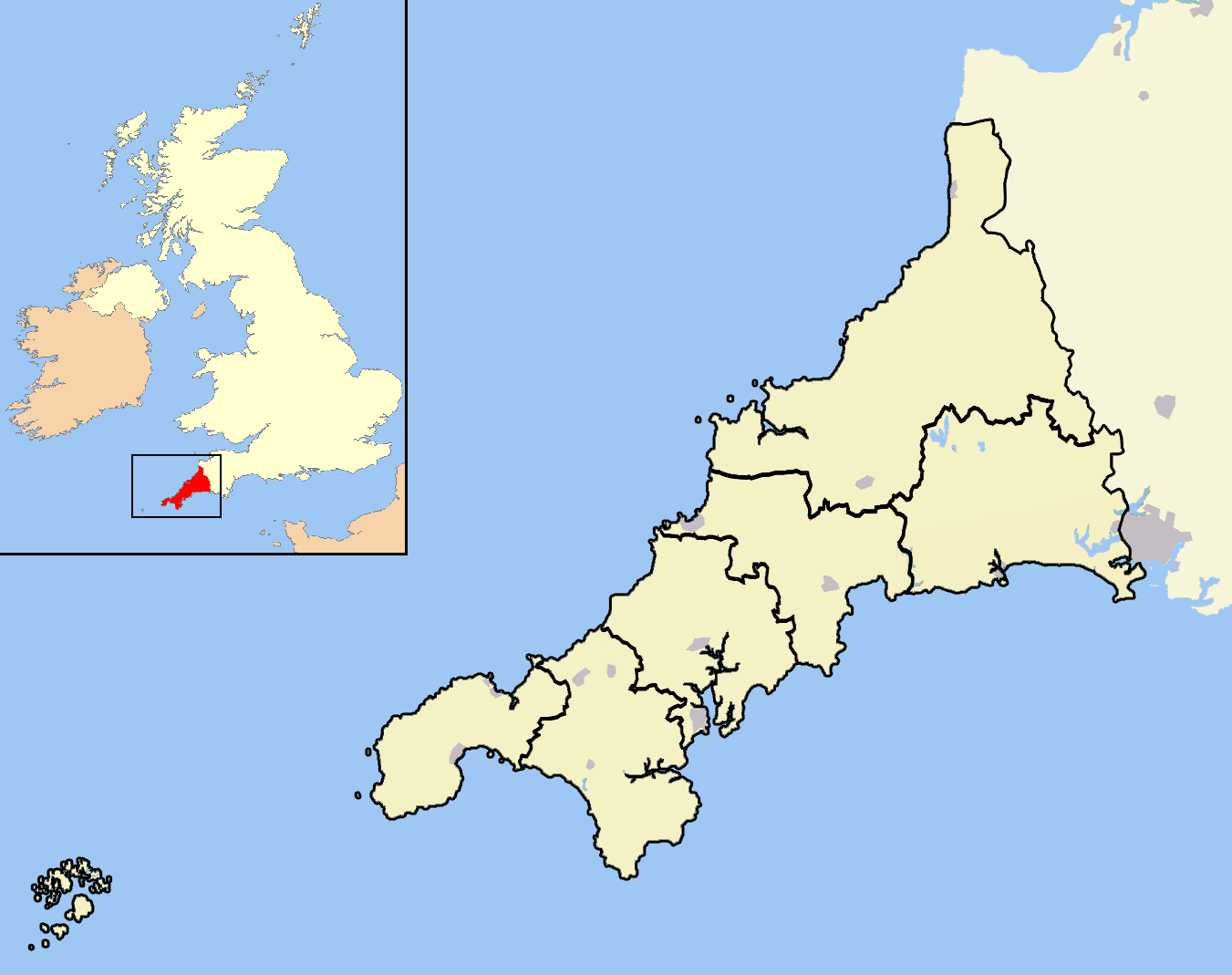 Cornwall Map Images File:cornwall Outline Map With