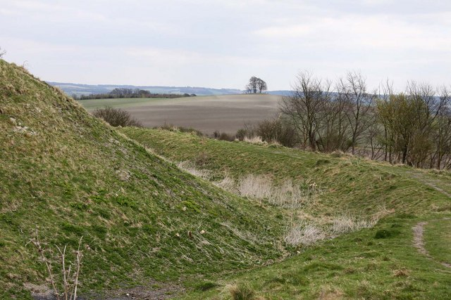 Defensive ditch on Castle Hill with Brightwell Barrow in the distance - geograph.org.uk - 1242107