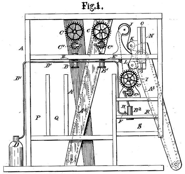 Robert Dunbar patent US226047A for grain elevator improvement invention