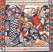 Escena de batalla libro de cántigas de Alfonso X El Sabio