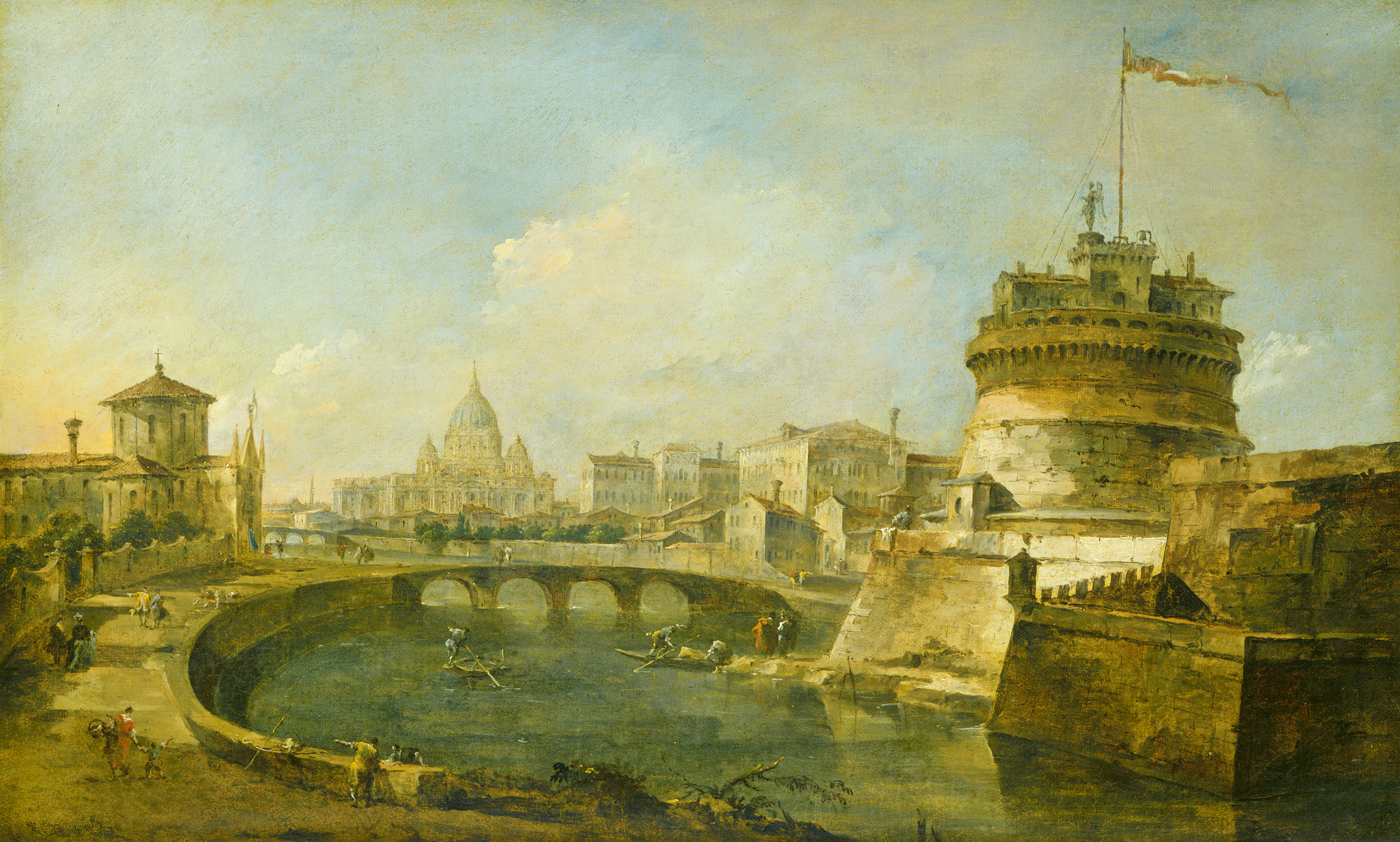 What Type Of Oil >> File:Fanciful View of the Castel Sant'Angelo, Rome F