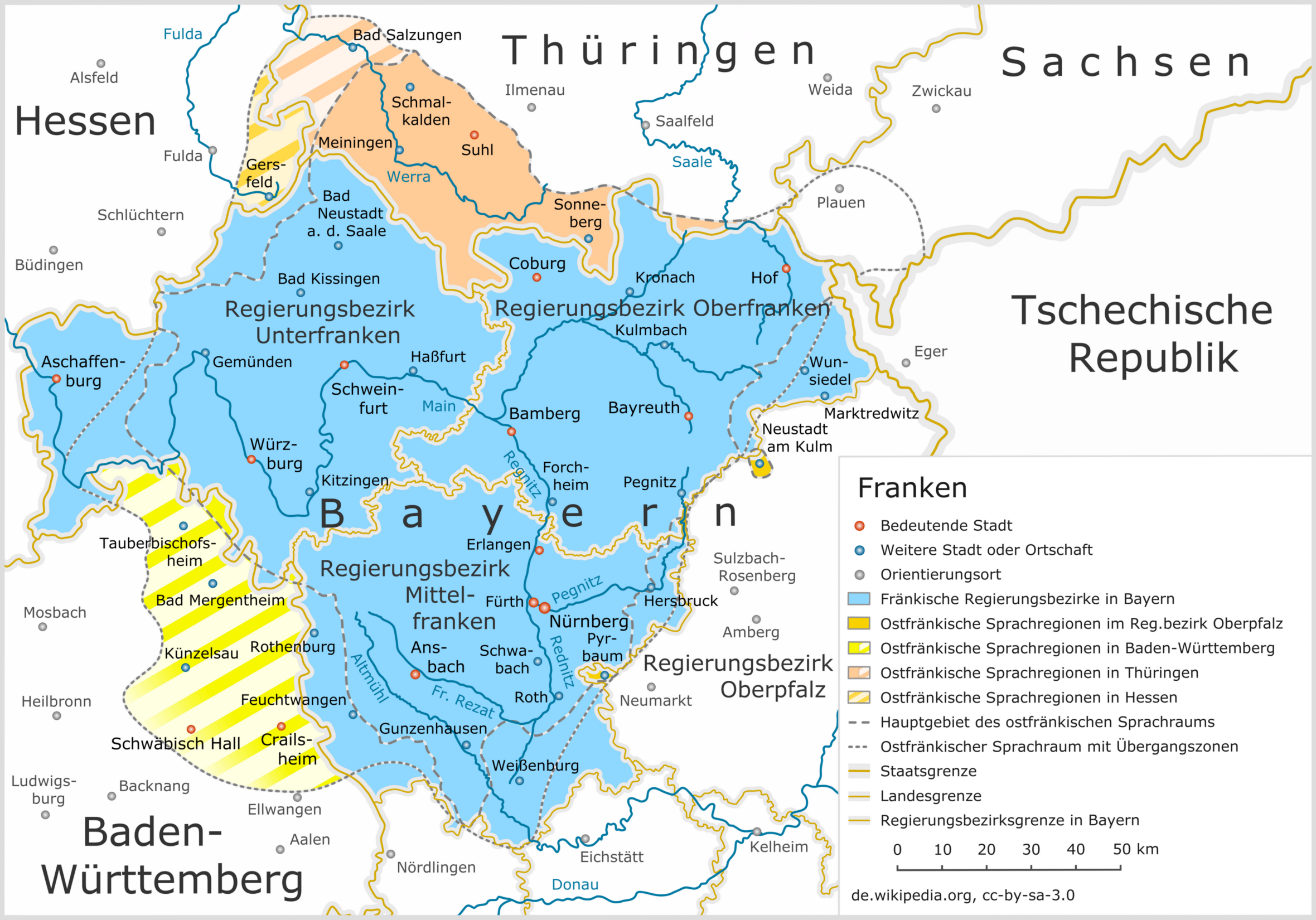 Franken Region Uebersicht - Lizenz: CC BY-SA 3.0