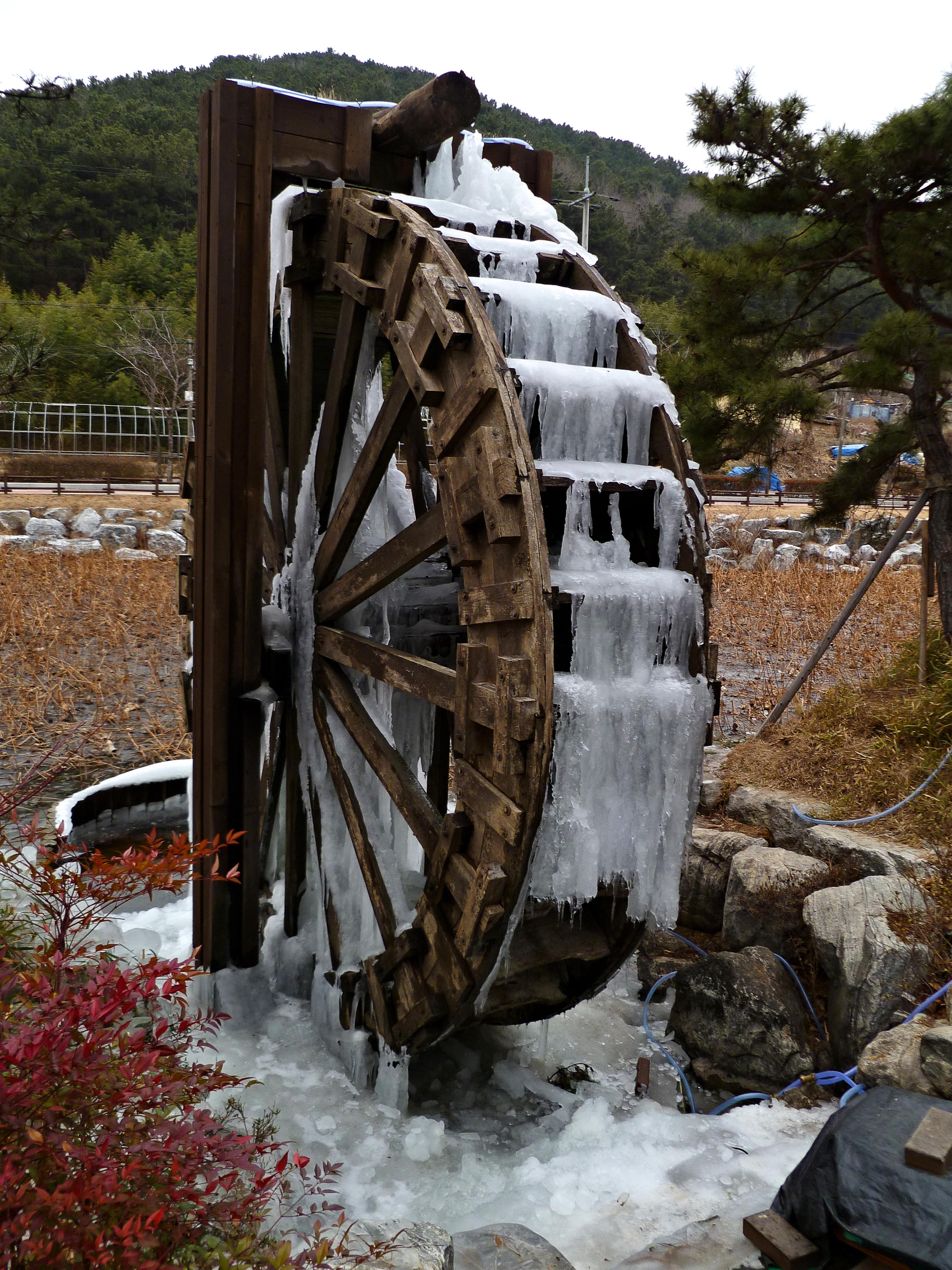 file frozen water wheel close up at seonam lake park ulsan jpg