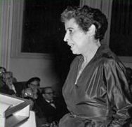 Photo of Hannah Arendt lecturing in Germany, 1955