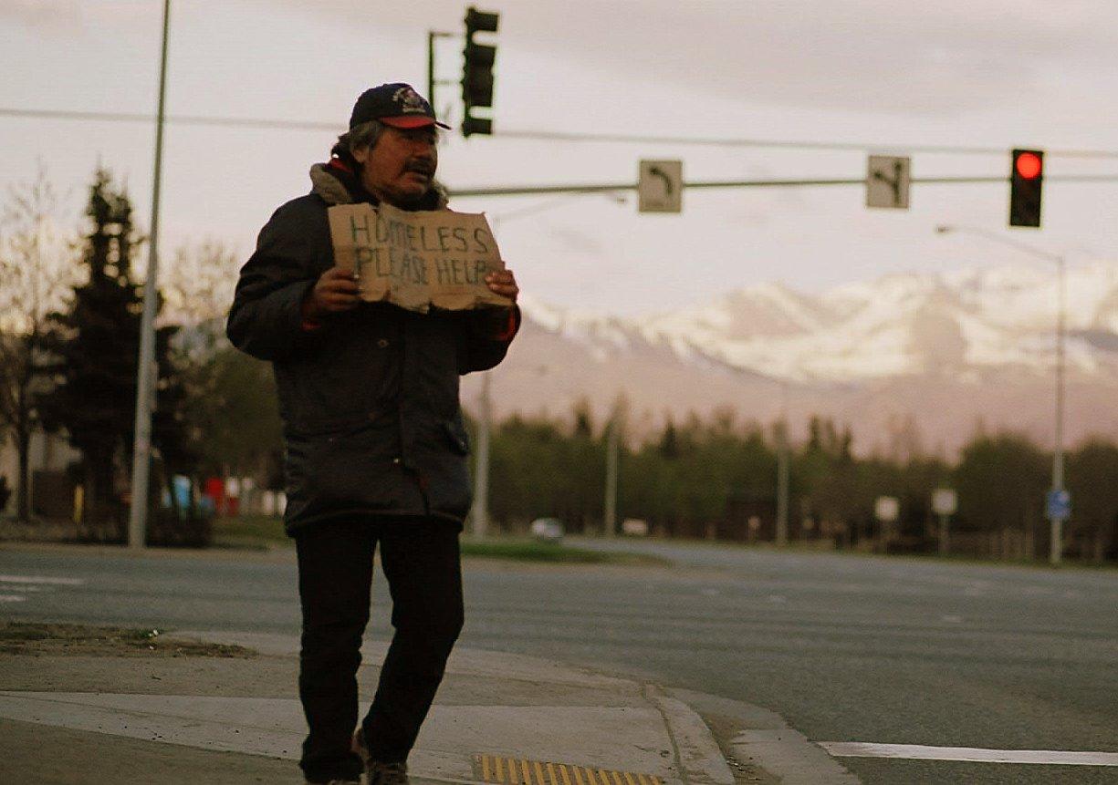 Homeless man in Anchorage, Alaska