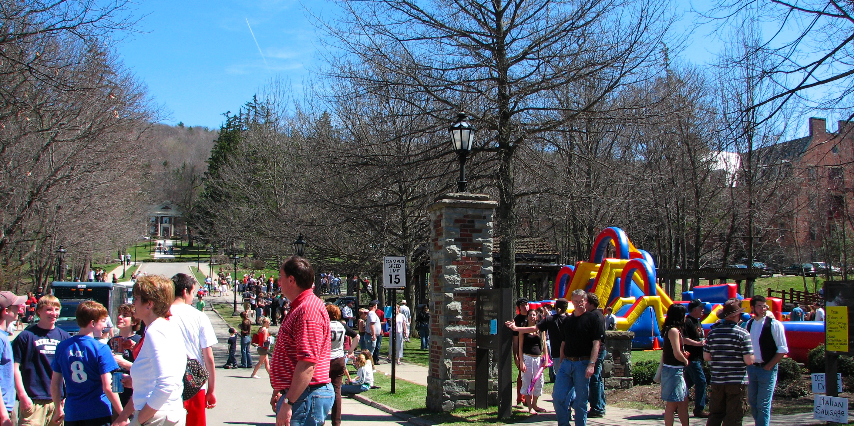 A crowd at Hot Dog Day 2007. Alfred University's Howell Hall and statue of King Alfred are visible on the left.