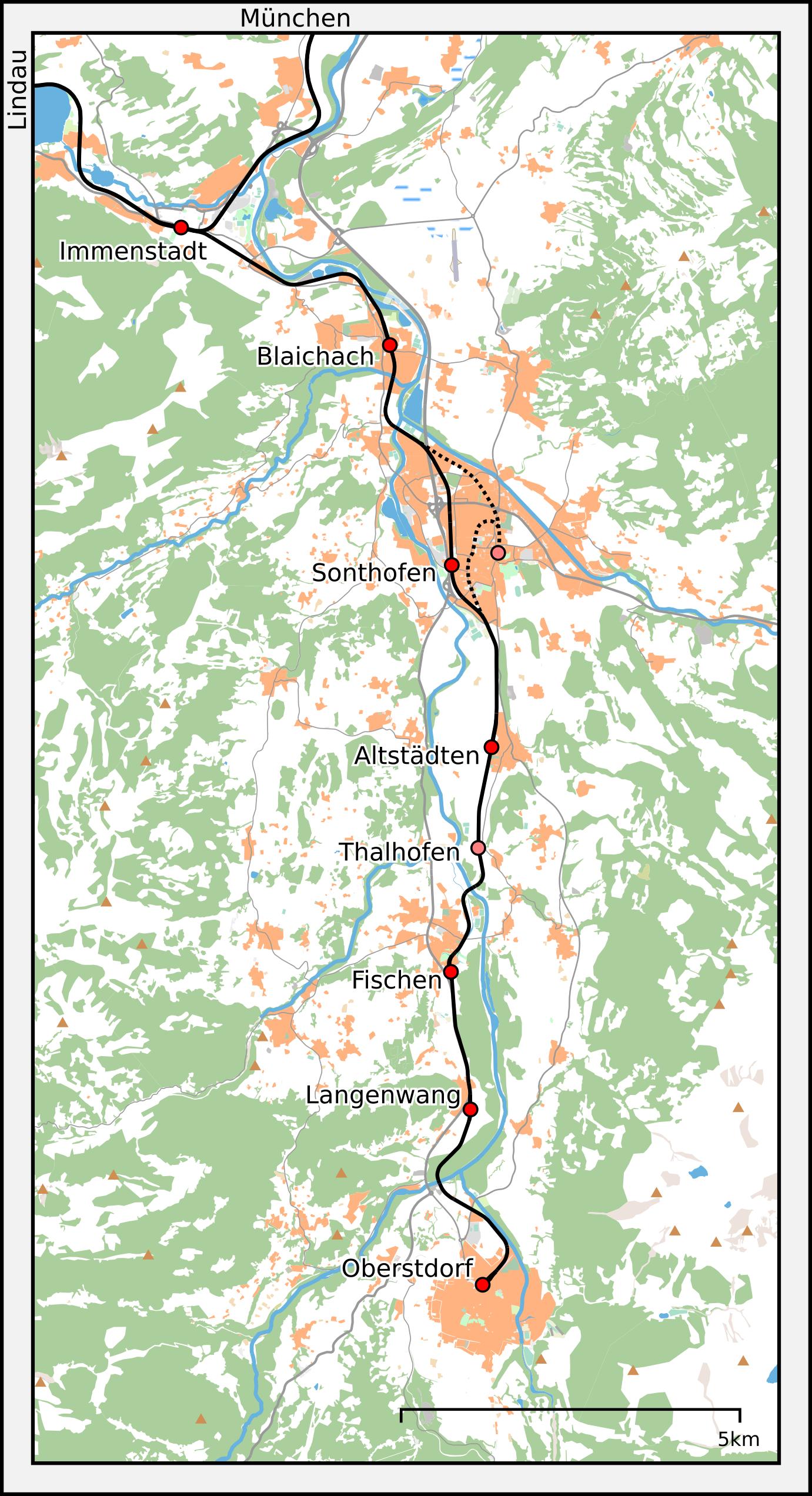 Bahnstrecke Immenstadtoberstdorf Wikipedia