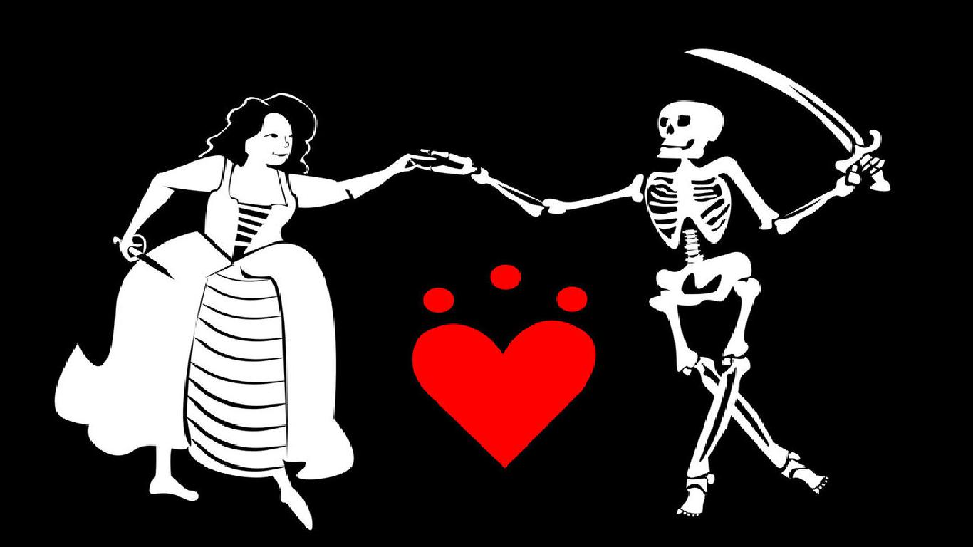 Shout out to this, the greatest flag — a lady pirate dancing with a very jolly looking skeleton holding a spear.