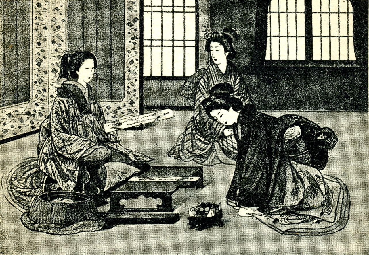 Japanese poetess and her listeners