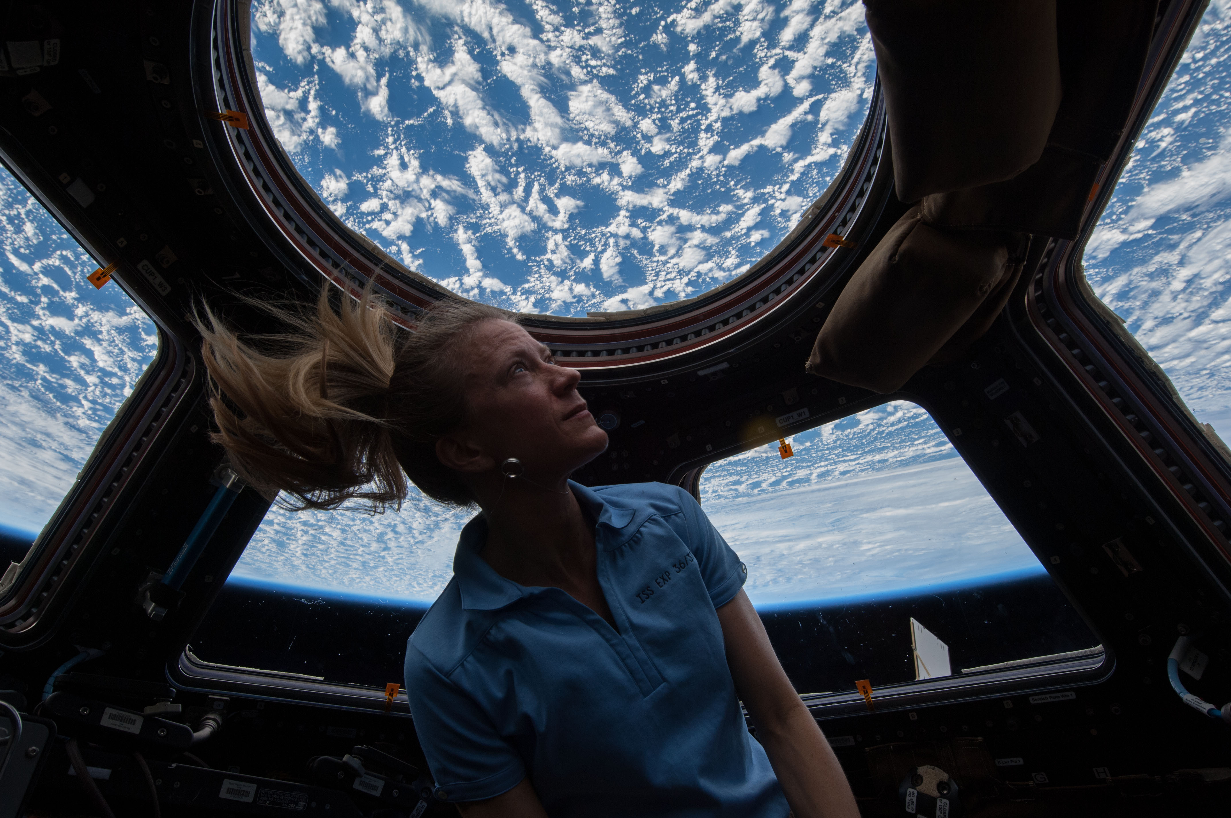 File:Karen Nyberg looks through Cupola on ISS (ISS037-E ...