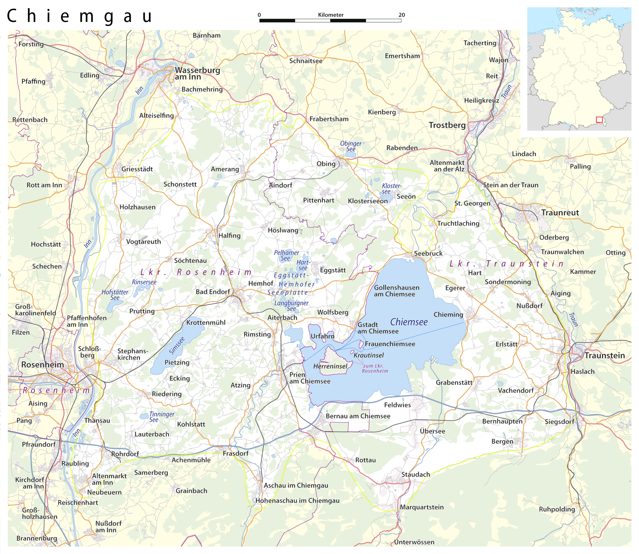 Chiemsee Karte.Datei Karte Chiemgau Png Wikipedia