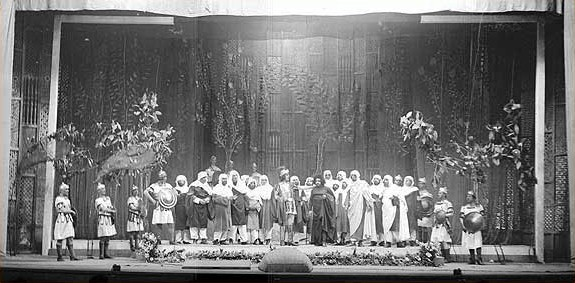 "Scene from Uzeyir Hajibeyovs ""Leyli and Majnun"" opera. 1934. Azerbaijan State Academic Opera and Ballet Theater Leyli and Majnun opera 1908.jpg"