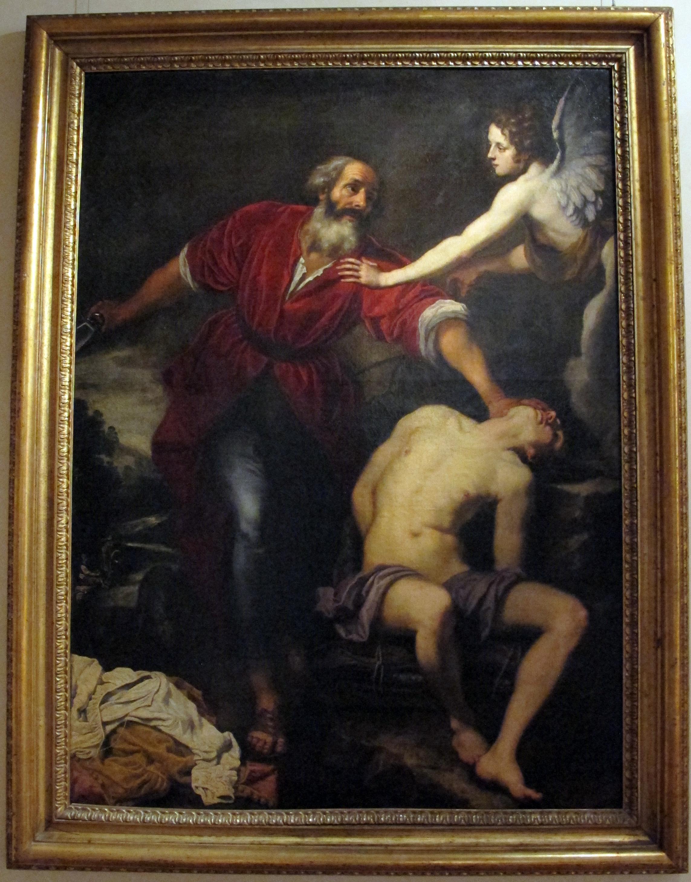 Sacrificio di Isacco, parallelismo con San Rocco confortato dall'angelo