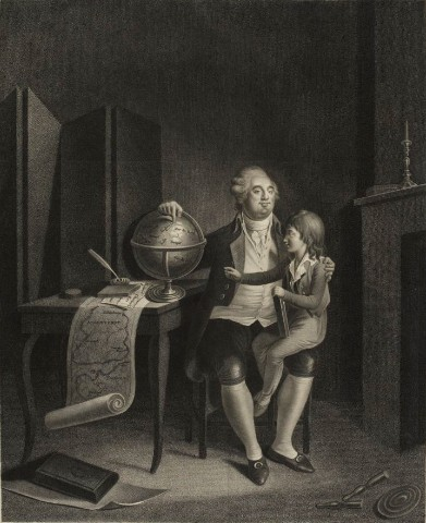 Louis XVI taking care of the education of his son in the Temple, (Musee de la Revolution francaise). Louis XVI au Temple, Musee de la Revolution francaise - Vizille.jpg