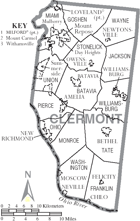 Union Ohio Map.File Map Of Clermont County Ohio With Municipal And Township Labels