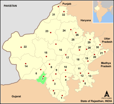 Map rajasthan dist Sirohi