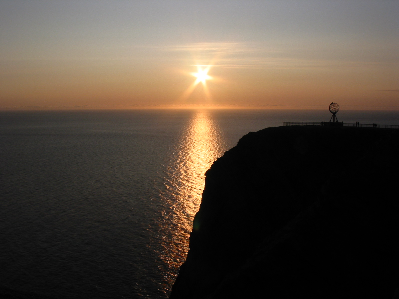 The midnight sun at Nordkapp, Norway.