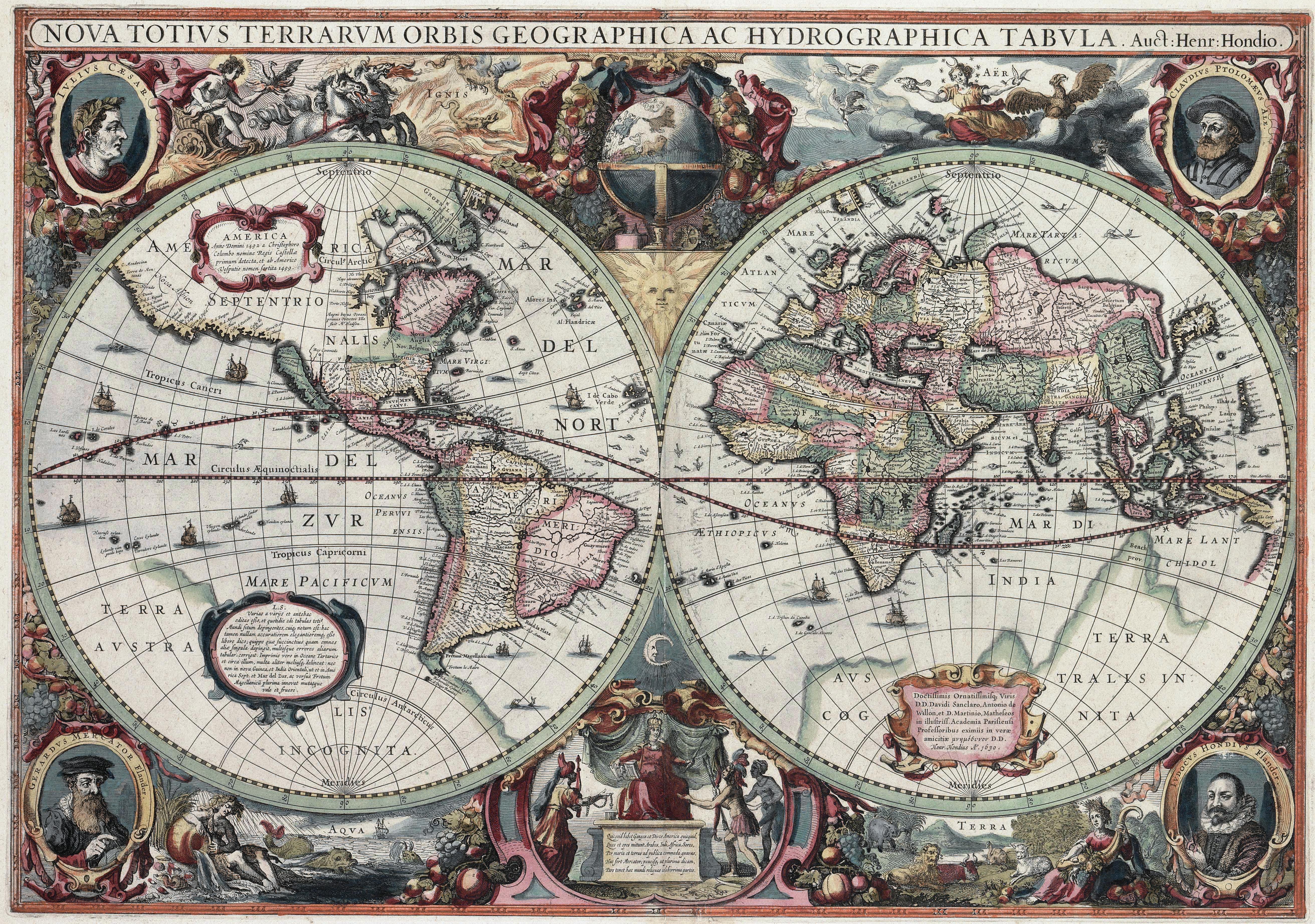 Nova totius terrarum orbis tabula by hendrik hondius 1630 among among its claims to notability is the fact that it was the first dated map published in an atlas and therefore the first gumiabroncs Image collections