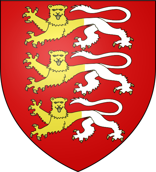 O'Brien family crest: a shield depicting three lions on a red background