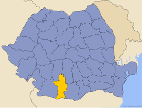 Administrative map of Руминия with Олт county highlighted