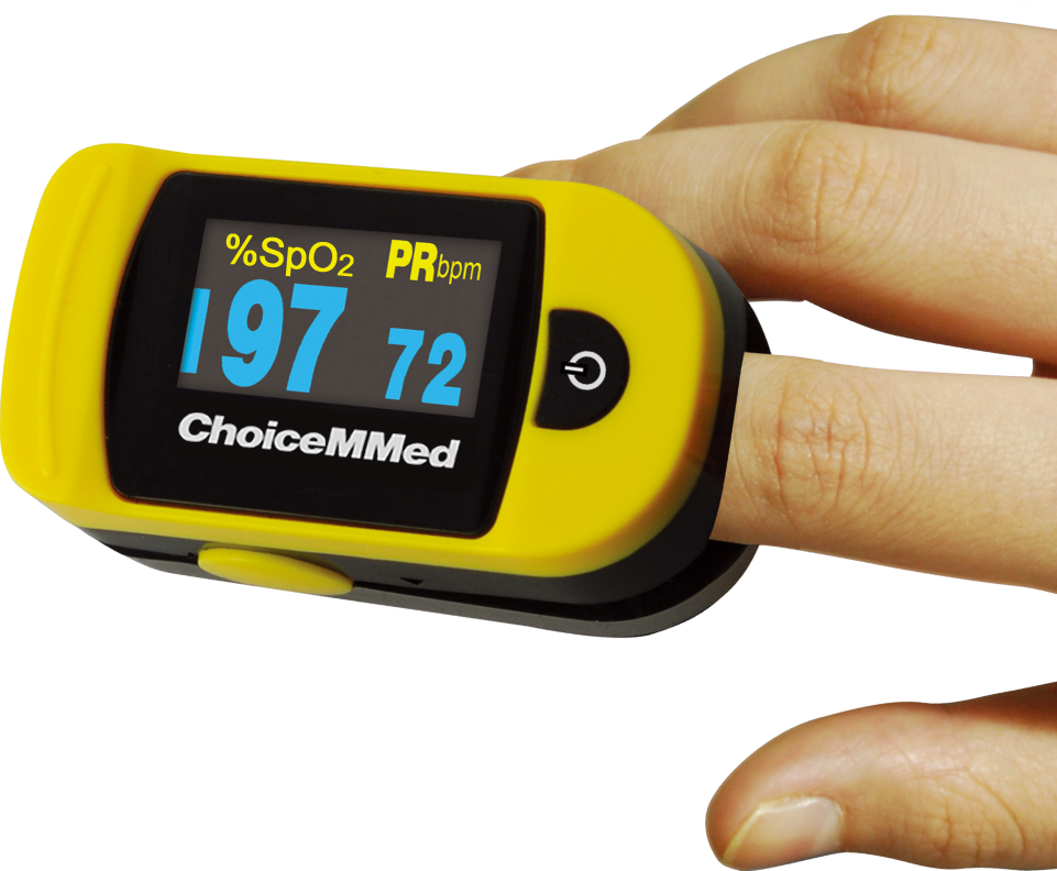 Yellow pulse oximeter on someone's finger