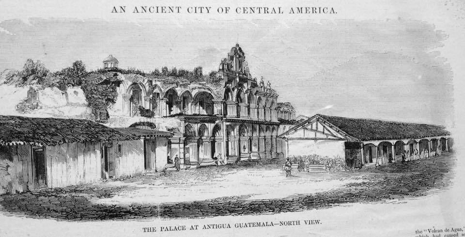 Ruinas del Palacio de los Capitanes Generales de Antigua Guatemala antes de su reconstrucción.