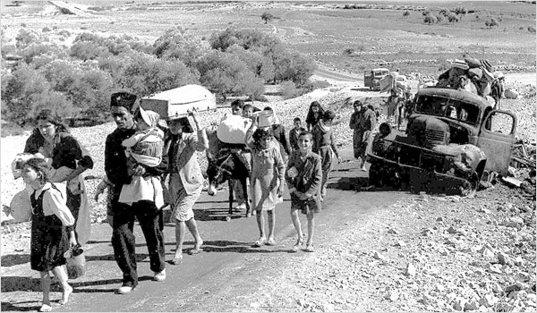 Palestinian refugees fleeing the Galilee in 1948