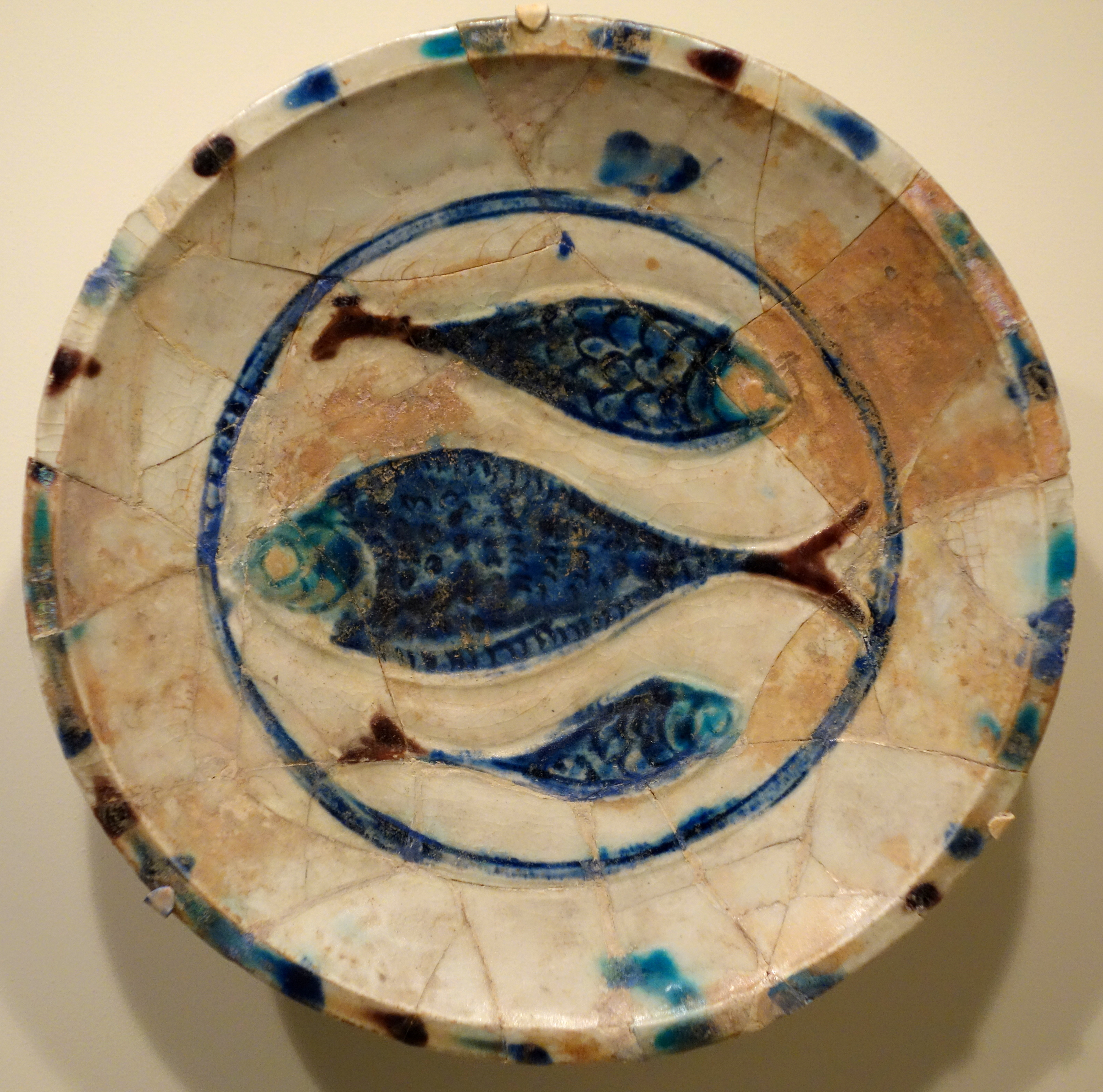 File Plate With Three Fish Lakabi Ware Iran Or Syria