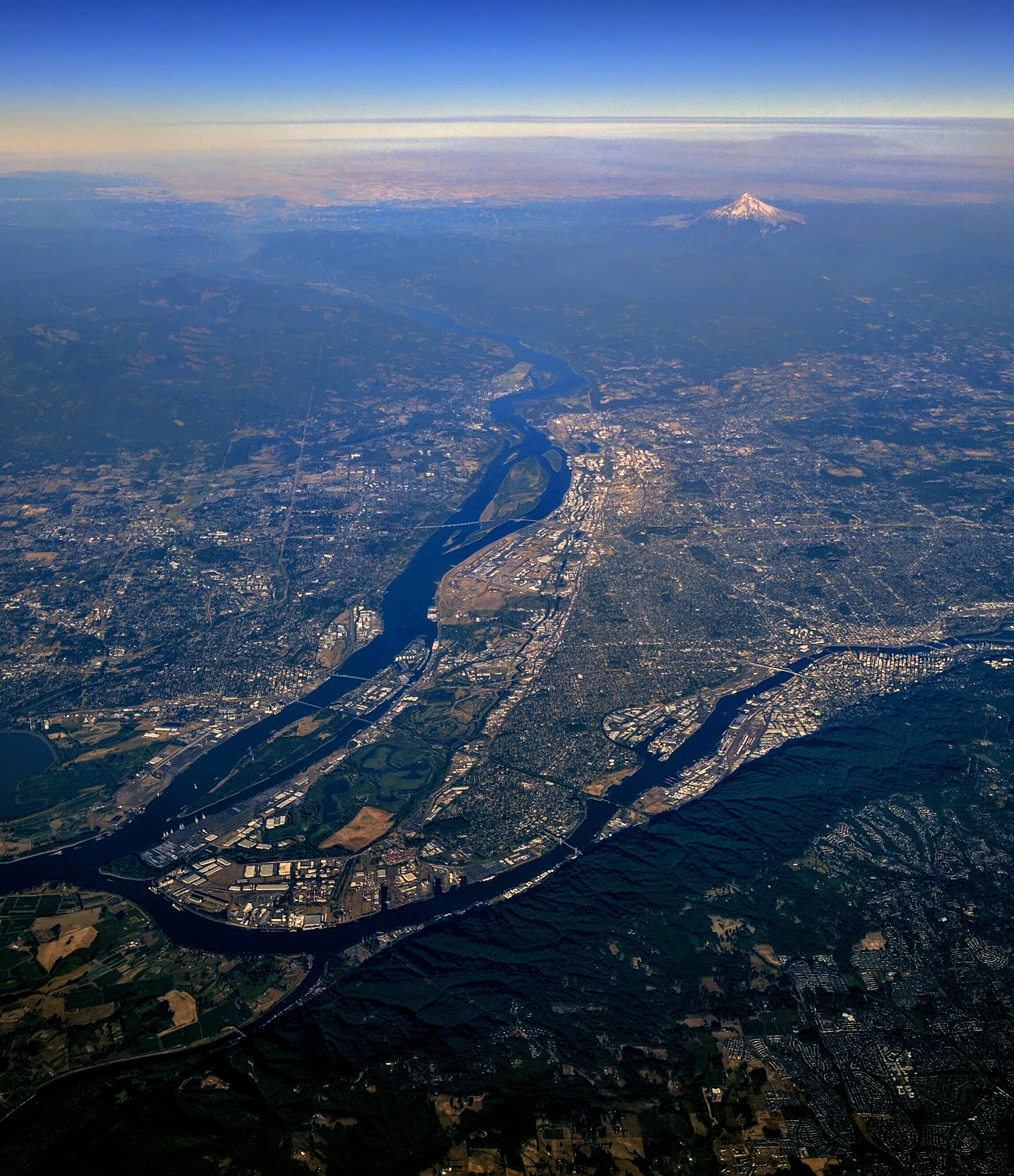 As Seen In This Aerial Photograph Mount Hood Is Not Far From The Portland Vancouver Metro Area