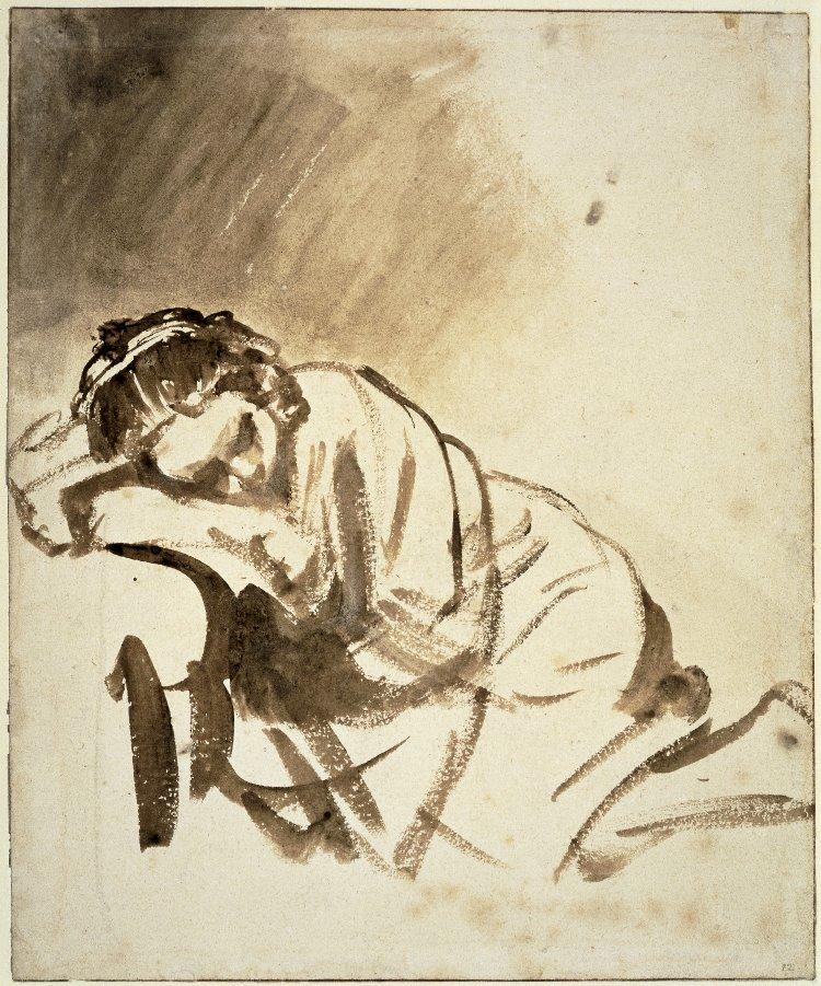secretos-dibujo-bocetos-Rembrandt-mujer-joven-durmiendo