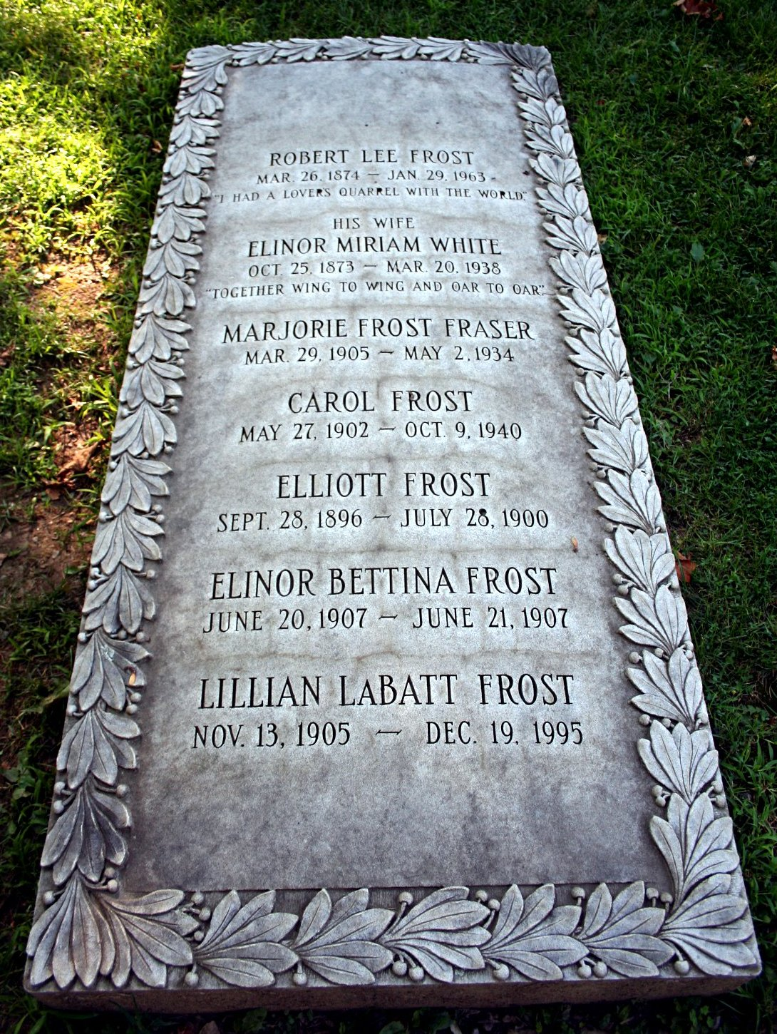 robert frost timeline of important dates he is buried at