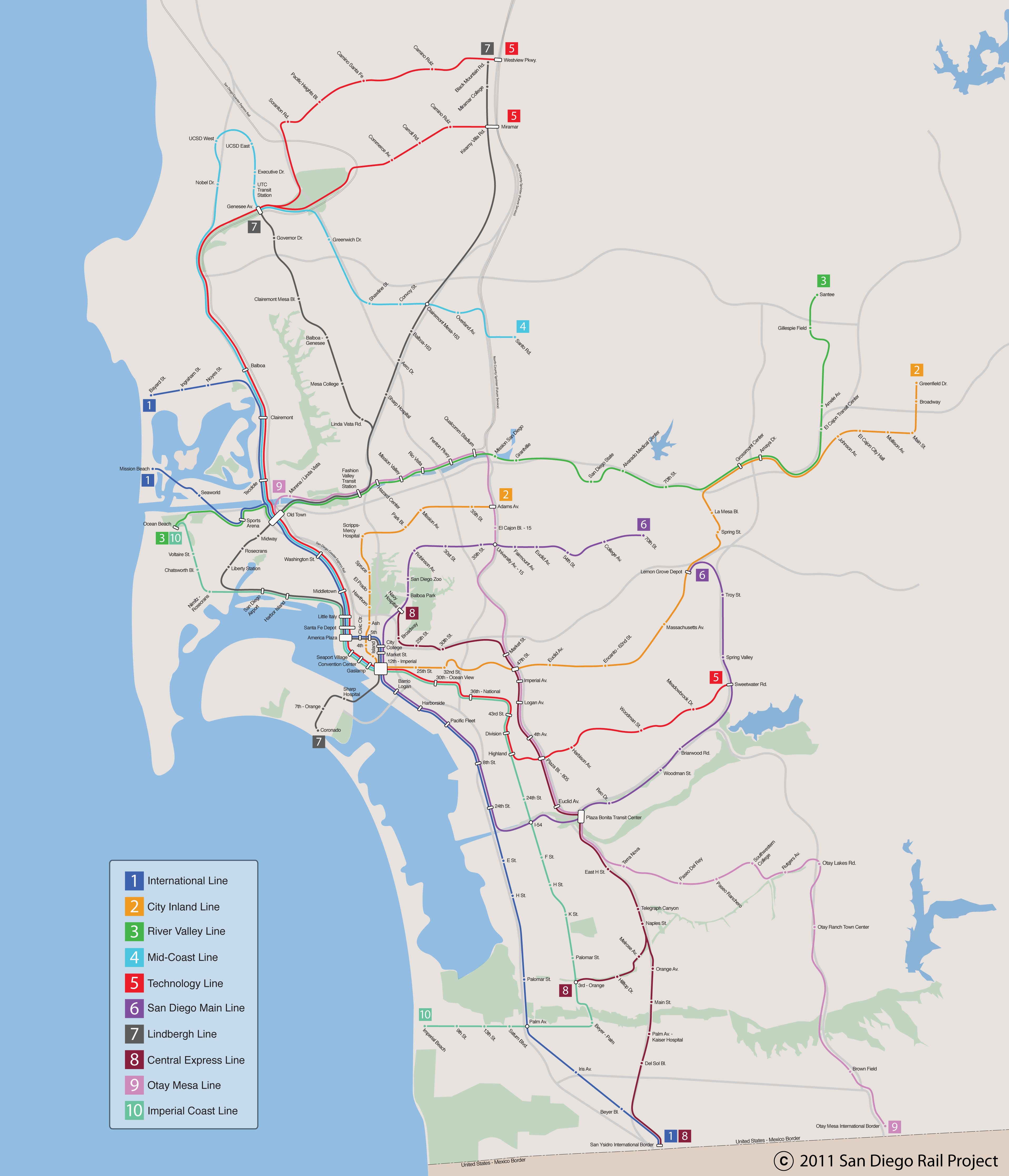 Trolley San Diego Map.Map Of San Diego With A Competent Transit System Sandiego