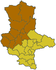 Map of Saxony-Anhalt highlighting the former Regierungsbezirk of Magdeburg