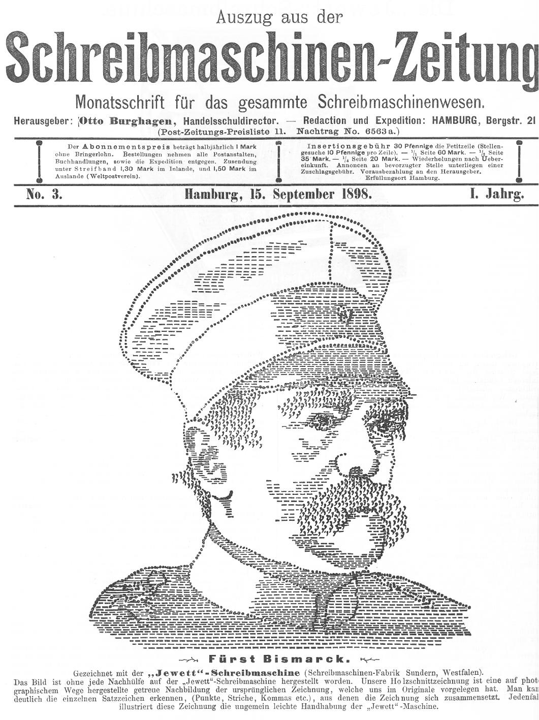 """Die ASCII-Art von Otto von Bismarck wurde am 15. September 1898 (sechs Wochen nach seinem Tod) auf der Titelseite der """"Schreibmaschinen-Zeitung"""" (Jg. 1, Nr. 3 vom 15. September 1898) veröffentlicht"""