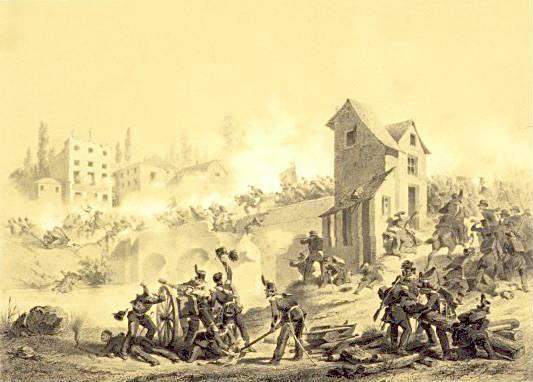 First clash at Goito (8 April 1848) Lithography by Stanislao Grimaldi Dal Poggetto.