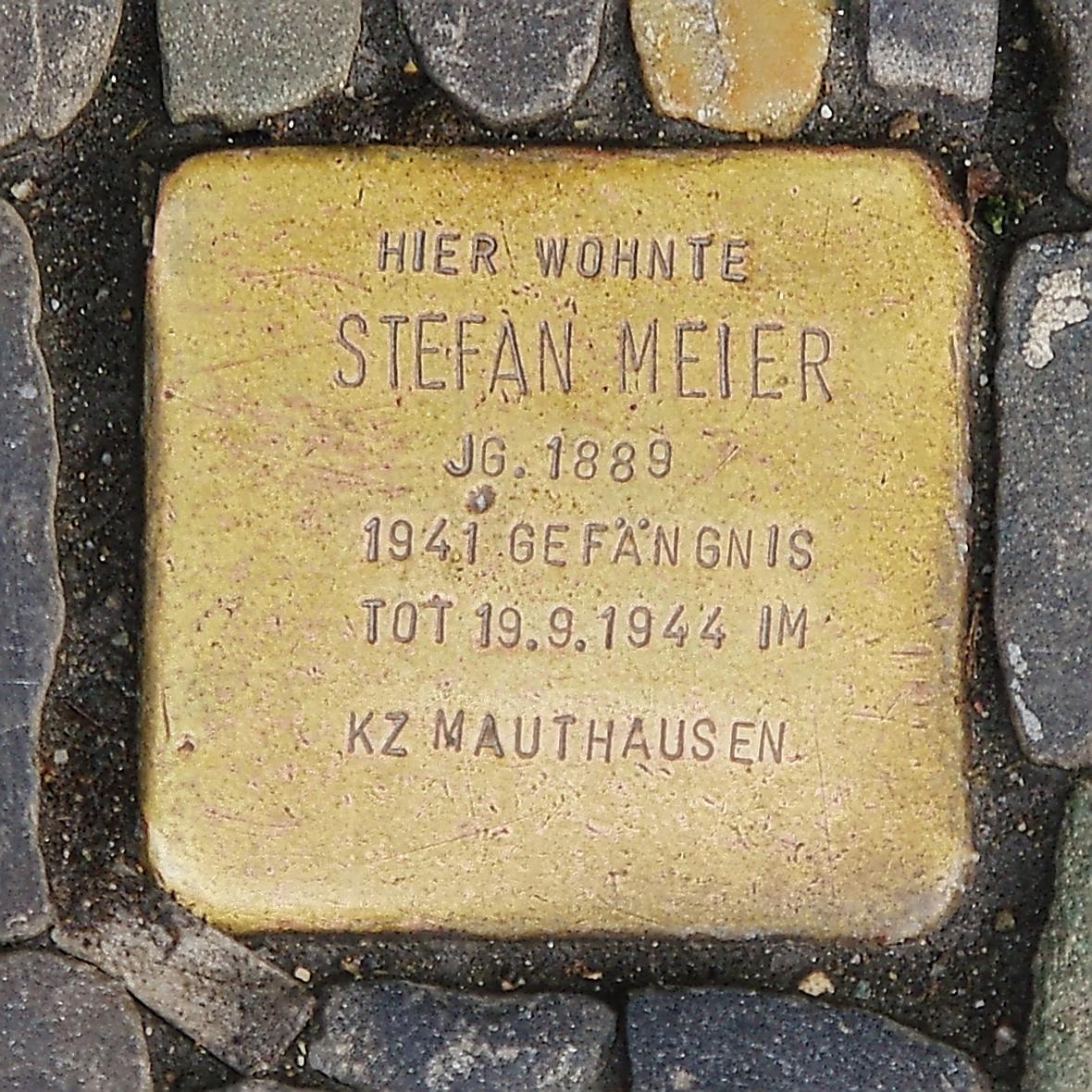 Stumbling Stone of Stefan Meier in Freiburg im Breisgau