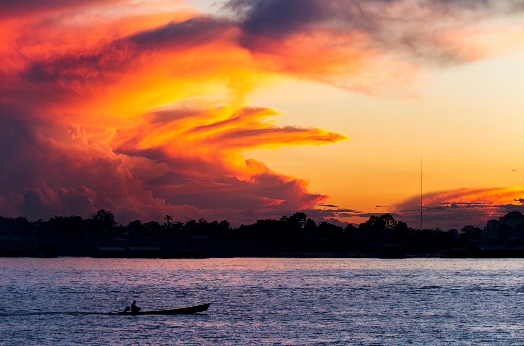 Sunset on the Amazonamagon town
